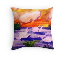 Settling in, watercolor Throw Pillow