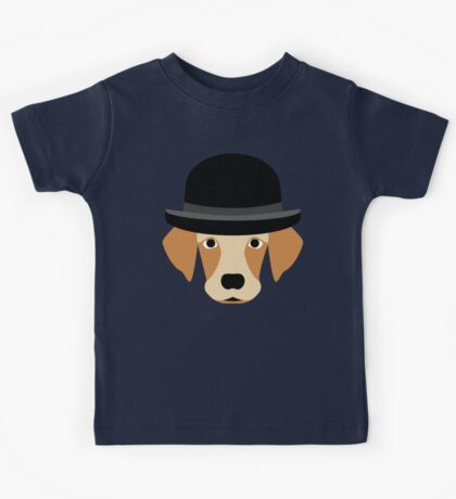 Dog Wearing a Bowler Hat Kids Tee