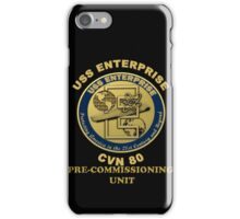 PCU Enterprise (CVN-80) Crest for Dark Backgrounds iPhone Case/Skin
