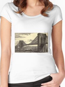 Vintage Illustration of The Brooklyn Bridge (1879) Women's Fitted Scoop T-Shirt