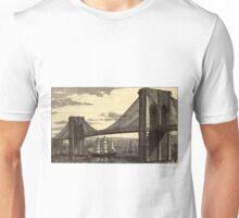 Vintage Illustration of The Brooklyn Bridge (1879) Unisex T-Shirt
