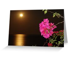 The coloured Bougainvilleas, the Pacific Ocean and the full Moon - Las Buganvillas de colores, el Oceano Pacifico y la Luna llena Greeting Card