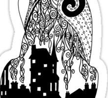 City Kitty Zentangle Silhouette Sticker