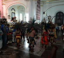 Indian dancers in honour to the Virgin of Guadalupe - Danzantes Indigenas en honor de Virgen de Guadalupe  by Bernhard Matejka