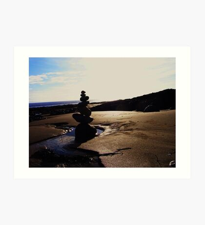 Stacked Stones Sculpture on the Sand Art Print