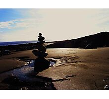 Stacked Stones Sculpture on the Sand Photographic Print