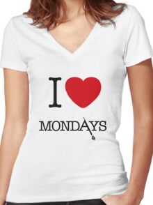 I Love Mondays- Castle Women's Fitted V-Neck T-Shirt