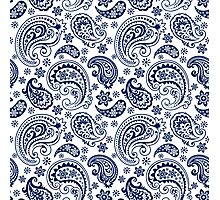 Blue And White Vintage Paisley Design Photographic Print