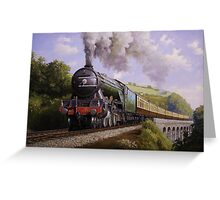 Flying Scotsman on Broadsands viaduct. Greeting Card