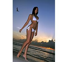 Beautiful brunette bikini model posing at sunrise in Miami beach, Florida  Photographic Print