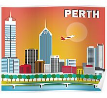 Perth, Australia - Horizontal Retro Themed Skyline Illustration by Loose Petals Poster