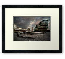 slouching towards bedlam...(The Scoop, Greater London Authority-City Hall, Tower Bridge, London, UK.) Framed Print