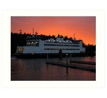 Washington State Ferry Chetzemoka at sunset Art Print