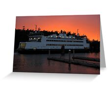 Washington State Ferry Chetzemoka at sunset Greeting Card