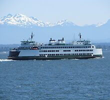 Washington State Ferry Kittitas and the Cascade Mountains by zargoman