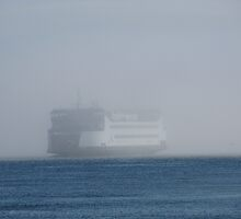 Washington State Ferry Chetzemoka in the fog by zargoman