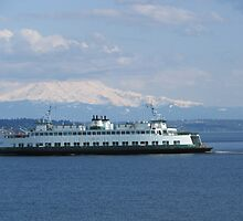 Washington State Ferry Klahowya and Mount Rainier by zargoman