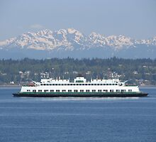 Washington State Ferry Klahowya and the Olympic Mountains by zargoman