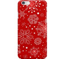 Snowflakes on Red Background iPhone Case/Skin