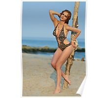 Young redhead girl on the beach standing pretty in designers swimsuit  Poster