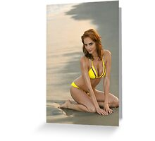 Fashion model in custom design yellow bikini sitting pretty on the sunset beach in Reese Park, NY  Greeting Card