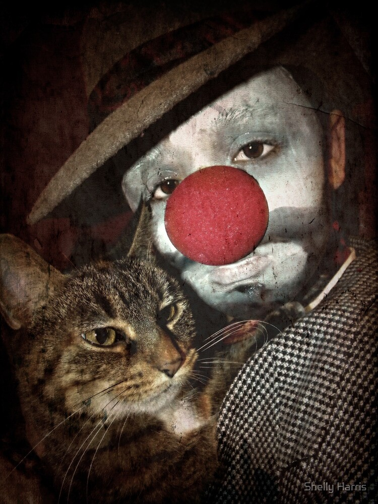 Sad Clown And His Kitty by Shelly Harris