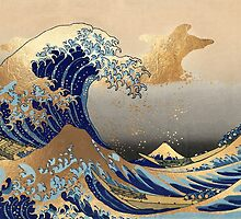 Vintage, Great Wave, Hokusai 葛飾北斎の神奈川沖浪 by PixDezines