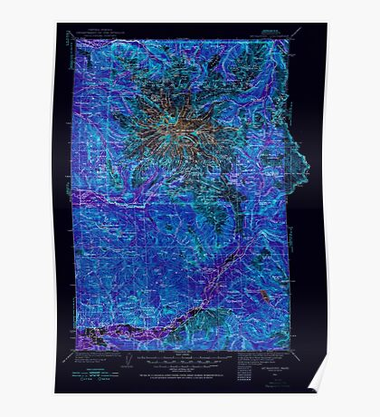 USGS Topo Map Washington State WA Mt Rainier 242666 1924 125000 Inverted Poster