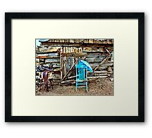 Blue Chair And Parasol Framed Print