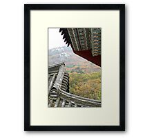 Temple Roofs against the Mountain Framed Print