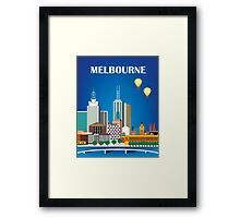 Melbourne, Australia - Horizontal Retro Themed Skyline Illustration by Loose Petals Framed Print
