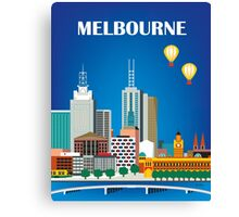 Melbourne, Australia - Horizontal Retro Themed Skyline Illustration by Loose Petals Canvas Print