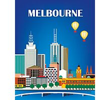 Melbourne, Australia - Horizontal Retro Themed Skyline Illustration by Loose Petals Photographic Print