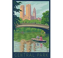 Vintage Central Park: The Lake and Bow Bridge Photographic Print