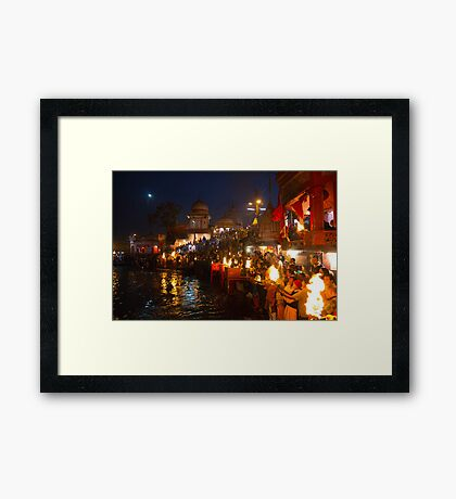 Arati to goddess Ganga at Haridwar Framed Print