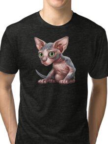 Cat-a-clysm: Sphynx kitten - Classic Tri-blend T-Shirt