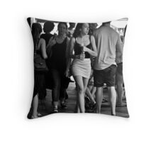 charging through the crowd Throw Pillow