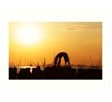 Yoga by the Statue of liberty, New York Art Print