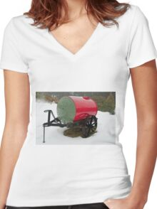 0286 Little Red Water Cart Women's Fitted V-Neck T-Shirt