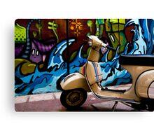 STREET GRAFFITI WALL AND RETRO VINTAGE VESPA SCOOTER MOTORCYCLE Canvas Print