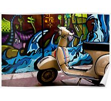 STREET GRAFFITI WALL AND RETRO VINTAGE VESPA SCOOTER MOTORCYCLE Poster