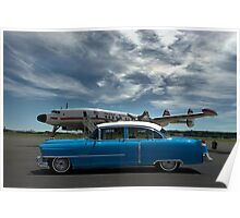 1954 Cadillac and Lockheed Constellation Super G Poster