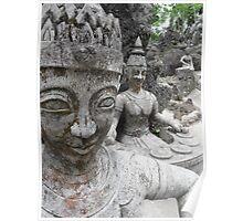 Buddha Garden - stone statue Poster