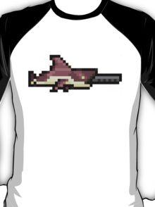 MegaShark Gun Terraria White Writing T-Shirt