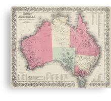 Vintage Map of Australia (1865) Canvas Print