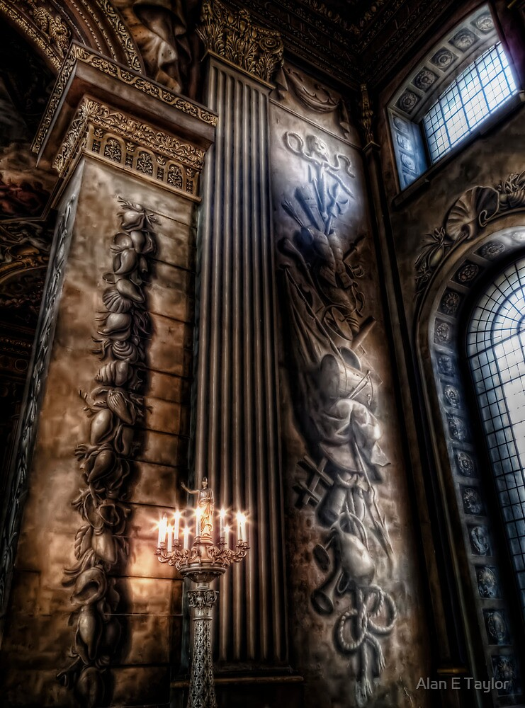 Candelabra in the Painted Hall by Alan E Taylor