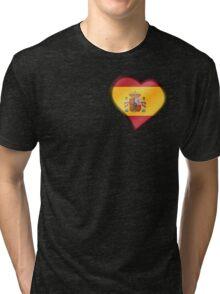 Spanish Flag - Spain - Heart Tri-blend T-Shirt