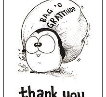 Bag 'O Gratitude - Thank You Card by afatpenguinshop