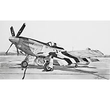Invasion Stripes (North American P - 51 D Mustang) Photographic Print