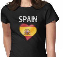 Spain - Spanish Flag Heart & Text - Metallic Womens Fitted T-Shirt